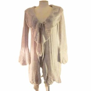 Sarah Spencer Lacy Tie Front Duster Sweater Sz S